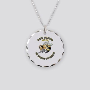 New Navy SeaBee Necklace Circle Charm
