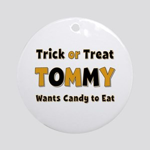 Tommy Trick or Treat Round Ornament