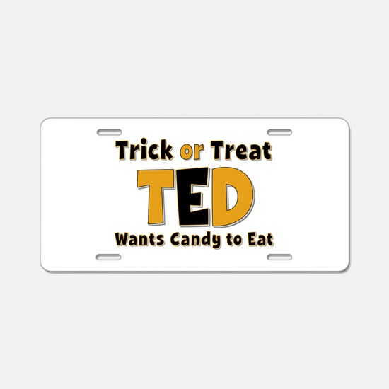 Ted Trick or Treat Aluminum License Plate