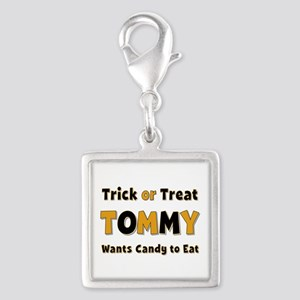 Tommy Trick or Treat Silver Square Charm