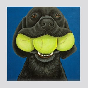 Black Lab with 3 tennis balls Tile Coaster