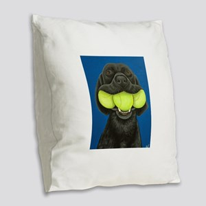 Black Lab with 3 tennis balls Burlap Throw Pillow