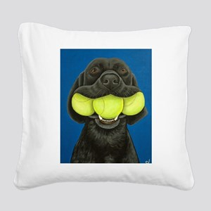 Black Lab with 3 tennis balls Square Canvas Pillow