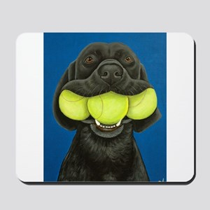 Black Lab with 3 tennis balls Mousepad