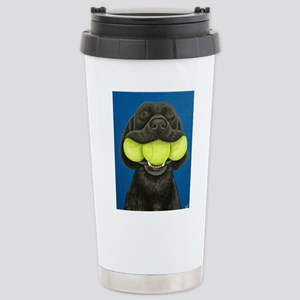 Black Lab with 3 tennis balls Travel Mug