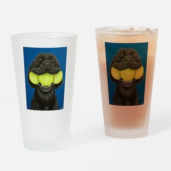 Black Lab with 3 tennis balls Drinking Glass