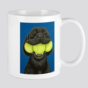 Black Lab with 3 tennis balls Mug