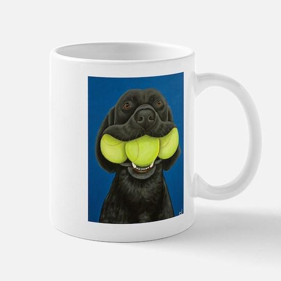 Black Lab with 3 tennis balls Mug