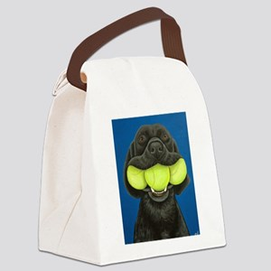 Black Lab with 3 tennis balls Canvas Lunch Bag