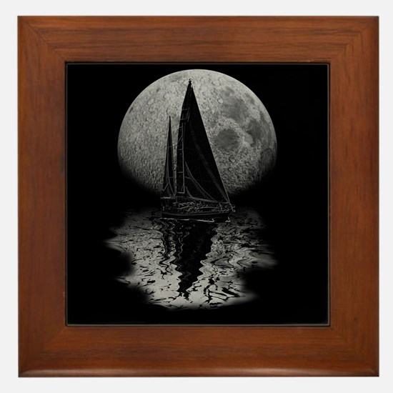 Midnight Sailing Framed Tile
