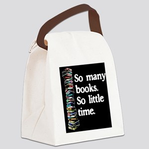 So Many Books---for black backgro Canvas Lunch Bag