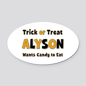 Alyson Trick or Treat Oval Car Magnet