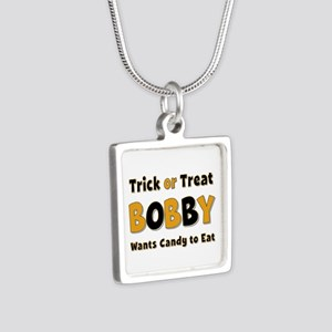 Bobby Trick or Treat Silver Square Necklace