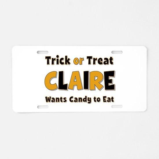 Claire Trick or Treat Aluminum License Plate