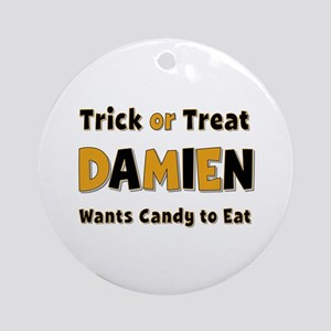 Damien Trick or Treat Round Ornament