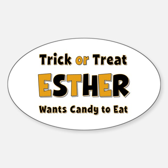 Esther Trick or Treat Oval Decal