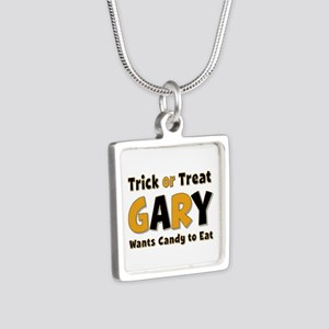 Gary Trick or Treat Silver Square Necklace