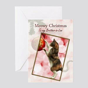 Brother-in-Law, Meowy Christmas. Greeting Card