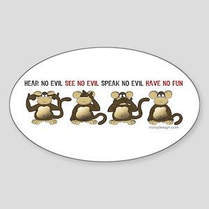 No Evil Fun Monkeys Sticker (Oval)