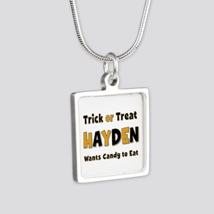 Hayden Trick or Treat Silver Square Necklace