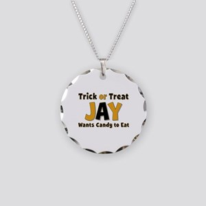 Jay Trick or Treat Necklace Circle Charm