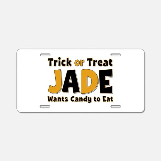 Jade Trick or Treat Aluminum License Plate