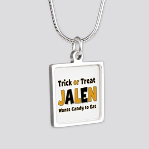 Jalen Trick or Treat Silver Square Necklace