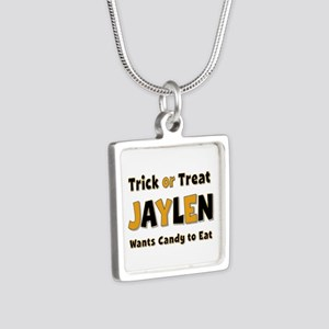 Jaylen Trick or Treat Silver Square Necklace
