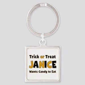 Janice Trick or Treat Square Keychain