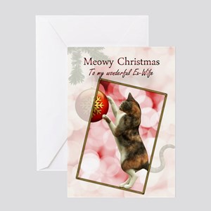 Ex-wife, Meowy Christmas. Greeting Card