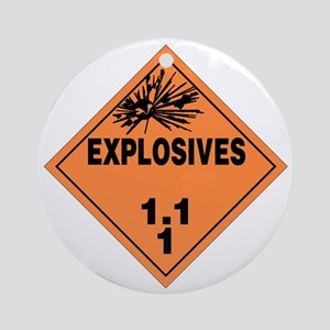 Orange Explosives Warning Sign Round Ornament