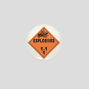 Orange Explosives Warning Sign Mini Button