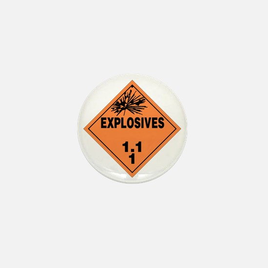 Orange Explosives Warning Sign Mini Button