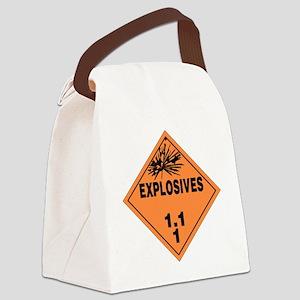 Orange Explosives Warning Sign Canvas Lunch Bag