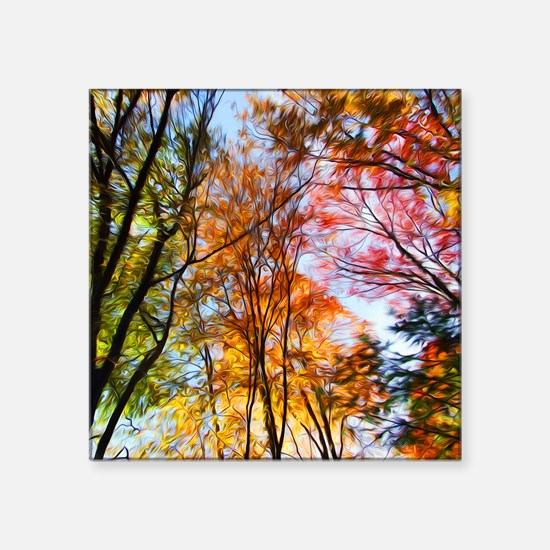 """Autumn Trees Oil Painting Square Sticker 3"""" x 3"""""""