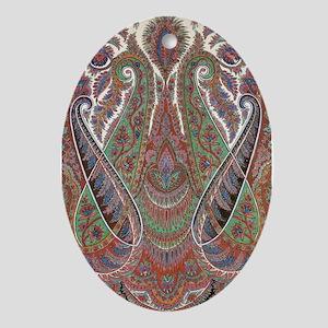 elegant peacock paisley vintage desi Oval Ornament