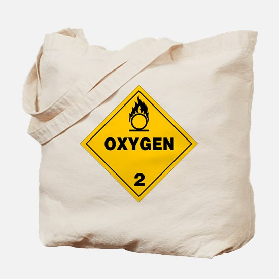 Yellow Oxygen Warning Sign Tote Bag