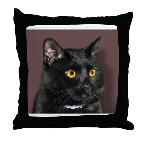 Black Cat wYellowEyes Throw Pillow