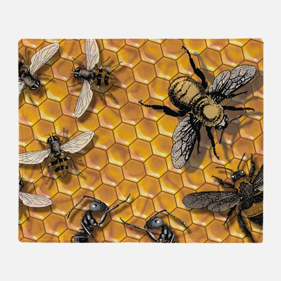bees and honeycomb illustration Throw Blanket