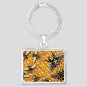 bees and honeycomb illustration Landscape Keychain