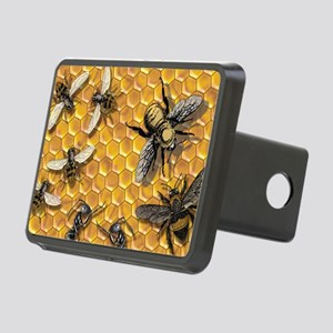 bees and honeycomb illustr Rectangular Hitch Cover