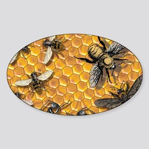 bees and honeycomb illustration Sticker (Oval)
