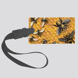 bees and honeycomb illustration Large Luggage Tag