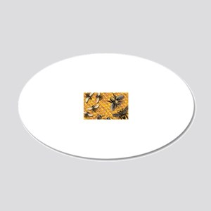 bees and honeycomb illustrat 20x12 Oval Wall Decal