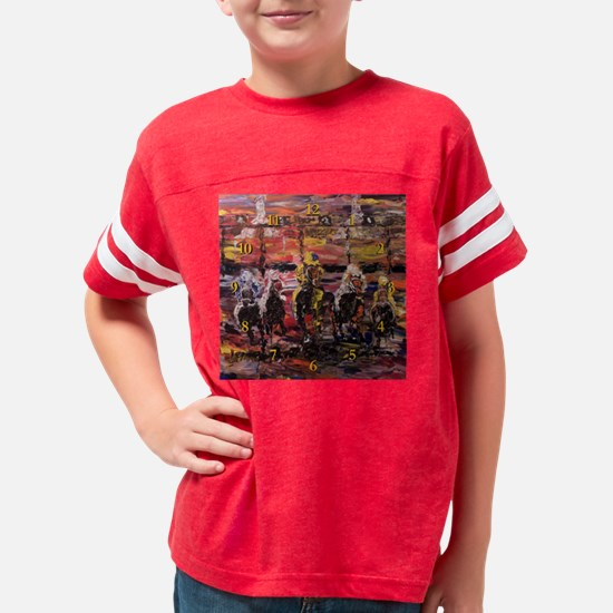 And Theyre Off Wall Clock Youth Football Shirt