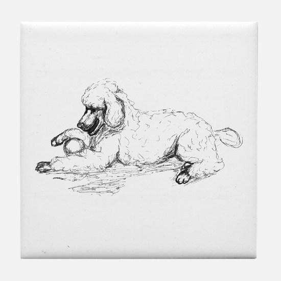 Playful Poodle Tile Coaster
