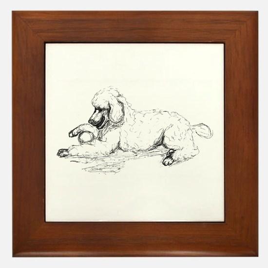 Playful Poodle Framed Tile