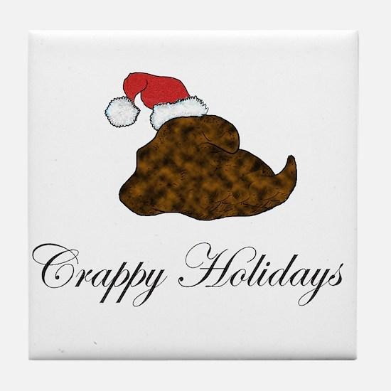 Crappy Holidays Santa Hat Tile Coaster