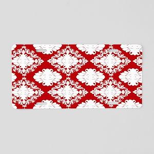 red white ornate romantic d Aluminum License Plate