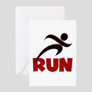 RUN in Red Greeting Card
